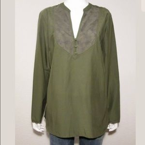Eddie Bauer Silk Cotton Green Long Sleeve Lace Top